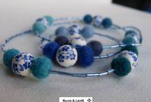 Bijoux Nacre&LenN / Colliers - Boucles d'oreilles - Bagues - Bracelet - broches , etc en laine feutrée et boutons de nacre / coco etc