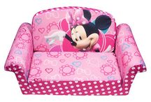 Minnie Mouse Chairs, Couches & Fold Out Sleep Sofas / Ever the cheapskate, I look for the best way to decorate on a dime. Themes Minnie Mouse chairs an sofas are great for the littlest girls--from baby to toddler.