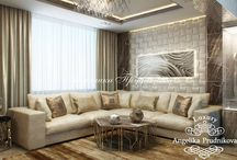 Стиль модерн в Солнцево / Дизайн квартиры в Солнцево выдерживает единый стиль оформления во всех комнатах. Вход в гостиную большой и открытый. Неподалёку находится просторная кухня и столовая. В квартире много свободного, не заставленного пространства, но при этом комнаты обладают особым домашним уютом. Статуэтки и геометрические фигуры вкупе с оттенками кофейного цвета в интерьере придают квартире статный вид.