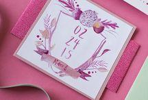 Pomegranate invitations and decor