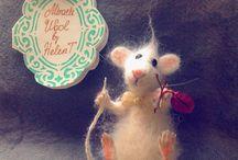 Войлочные Брошки Мышки Из шерсти(felting)валяние / Войлочные броши.Мышки