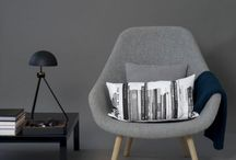 Grey / Living / Interior / Design / Furniture / Fabrics / Textiles / Wallpaper / Curtains