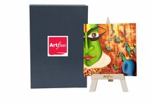 """Artflute : Desktop Art / Artflute is delighted to introduce the Desktop Art including a mini art print (starting at 7""""x7"""") that comes packaged in an exclusive box, with a stylish, lightly stained wooden easel. Each reproduction is a museum quality giclée print on high quality canvas and delicately hand textured by expert craftsmen -   http://www.artflute.com/desktop-art  #artflute #art #wall #homedecor #decor #table #gicléePrint #desktop #mini #print #easel"""