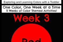 أسبوع اللون الاحمر - Red color week / انشطة تعليمية باللون الاحمر للاطفال من 18 - 36 شهر