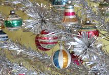 Vintage Ornaments - Christmas / From Kugel to Mercury glass to Shiny Brite. Figurals. Mica encrusted indents.  All types of Christmas tree ornaments are represented.   Bubble Lights and Twinkle lights. Lead tinsel, Garland.  All categories like figural Italian ornaments to vintage beaded kits.