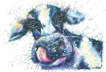 Cow Art / Cow painting watercolour and pen By Sophie Appleton. Art for sale £13.95 each, post worldwide . On the 'Art 4 SALE' page of www.sixfootsophie.co.uk
