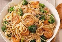 spagetty crevettes brocolis