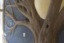 деревья ,барельеф, гипс, штукатурка.