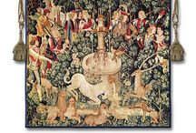 """Unicorn Tapestries / These unicorn tapestries shows art works based on originals from centuries ago, such as """"Lady and the Unicorn"""". """"Hunt of the Unicorn"""", and William Morris works of the knights of the round table."""
