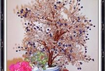 Copacii mei / Copacei handmade, realizati din sarma de cupru, margele de nisip in diferite culori, pietre semipretioase.