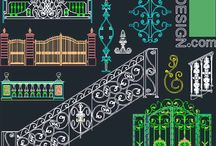 Balcony railing, Stair raling and entry gate designs- Autocad symbols / designs for balcony railings , stair railings, entrance gates, wrought iron gates, wrought iron fences, wrought iron elements, driveway gates, cast stone railing and stone balustrades: Cad symbols
