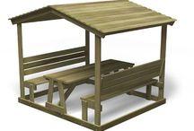 Мебель стол и скамейка