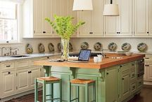 Two-Toned Kitchens / A great way to punch up the kitchen - painting the island a different color from the cabinets!