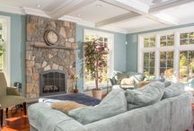 Fireplace Stone Ideas / Fireplace surrounds with natural stone. Fireplace stone facing.