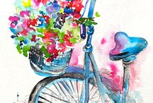 Bikes and Flowers Watercolor