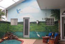 Courtyard wrap mural-Florida Wildlife / A Florida wildlife scene around a courtyard pool