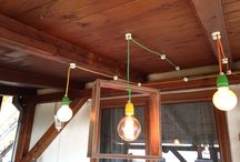edison lamp, ceramic grip, textil cable
