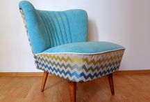Zig Zag Club '70s / Classic lounge chair cowered with zig - zag style upholstery fabric.
