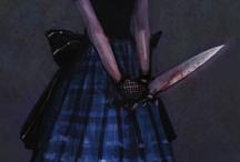 Dark dress.