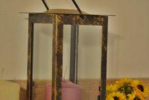 Bronze metallic Lantern / Bronze candleholder