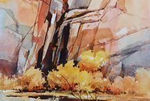 Watercolor Rock Landscapes