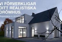 Gamle hus med moderne tilbygg