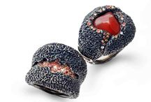 Volcano jewellery collection / Sculpture rings with opal fire and orange sapphires