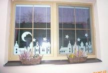 filigrány, papírové okenní dekorace