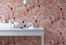 Bird Wallpaper / Beautiful wallpaper featuring birds such as flamingos and parrots. http://www.wowwallpaperhanging.com.au/flamingo-wallpaper/ http://www.wowwallpaperhanging.com.au/parrot-wallpaper/