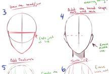 Cartoon head drawing