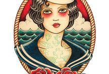 Tatuaje Chica Old School