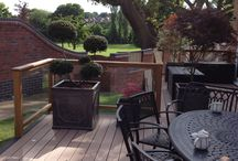 Contemporary Decking Balustrades  / Oak with Glass Panels