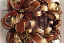 Brown & Gold mesh wreath