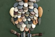 Pebble art: Owl