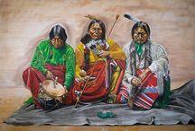 Western Art / Oil paintings native Americans