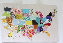 US Quilt / Combining Haptic Lab quilt kit with Wild Olive 50 States Stitching Club and Spoonflower fabrics