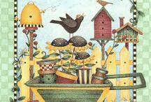 dibujos, jardineria, casas paisajes