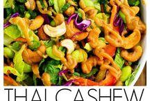 Vegan Salads + Vegetarian Salads / quinoa, pasta, chickpea, summer, for dinner, healthy, easy, vegan, vegetarian, tahini, mustard, dairy-free, veggies, spinach, berries, strawberries, raspberries, blueberries, almonds, dressing, vegan, vegetarian, recipe