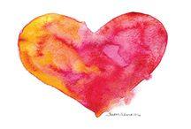 1re sec. Coeur aquarelle encre ❤️