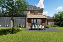 Aanbouw huis - eiken bijgebouw met rieten kap / Geintegreerde bijbouw aan huis met rieten kap - rozas vloeren  Loghomes ontwerp en uitvoering