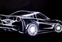 Drawings about Chevrolet Corvette. / Drawings and Paintings by Jennifer Egista about the American Sportscar Chevrolet Corvette.
