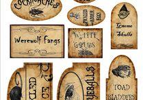Print  : Etiquettes pour sorcellerie / Imprimables à réduire pour miniature au 1/12ème - Maisons de poupées * Reduce to a printable miniature Labels for Witches  *