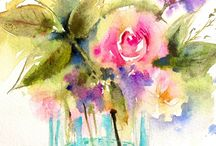 Acuarelas floreros