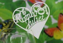 carte de verre,porte noms ,marque place decoration table mariage,romeo et juliette
