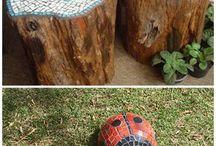 scaun buturuga cu mozaic