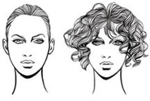 FACE SHAPES / Find the Perfect Wig for Your Face Shape -  Start by deciding what is the shape of your face. Pull your hair back, look in a mirror and choose the closest face shape image . . . then select wig styles to flatter your face.