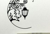 Czarno-białe rysunki