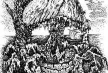 """Иллюстрации к произведению И. Шмелёва """"Солнце мёртвых"""" . Бумага А4, тушь, перо."""