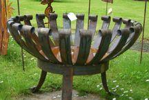 Gartendeko - Feuerkorb / Feuersäule rost / Feuerkorb / Feuersäule rostig aus Metall