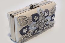 Silk Minaudiere / Silk minaudiere embellished with a mixture of embroidery and seed beads and diamante.